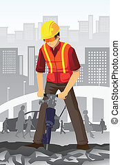 Road construction worker - A vector illustration of a road...
