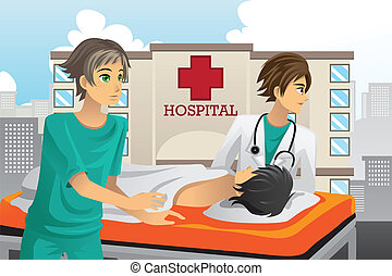 Paramedics at work - A vector illustration of paramedics at...