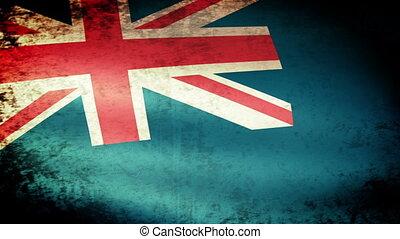 Montserrat Flag Waving, grunge look
