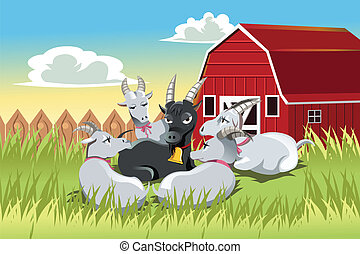 Goats - A vector illustration of a male goat surrounded by...