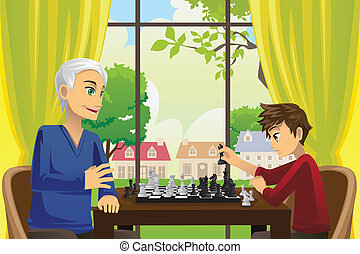 Grandfather and grandson playing chess - A vector...