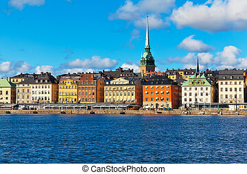 Scenery of the Old Town (Gamla Stan) pier in Stockholm,...