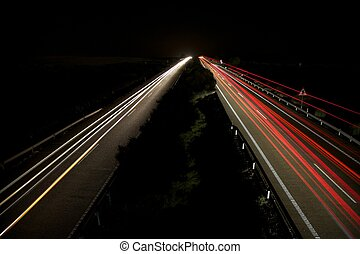 speed in highway night - night speed transports at highway...