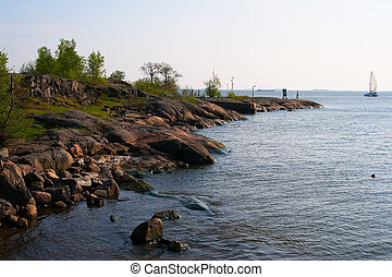 rock shoreline - Rocky shore of the Baltic Sea. Scandinavia.