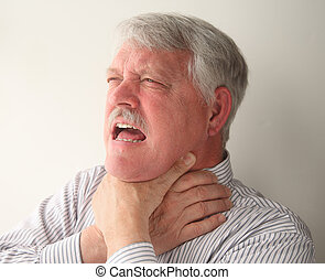 choking man - a senior man with food stuck in his throat