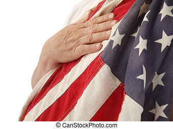 hand on USA flag