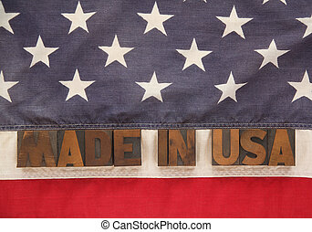 U.S. flag with words made in USA