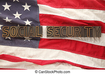 social security words on USA flag