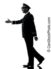 man in airline pilot uniform silhouette walking handshake -...