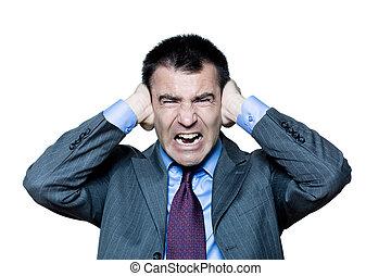 homem, mãos, cobertura, orelhas, irritado, som,...