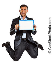 one business man jumping holding showing whiteboard - one...