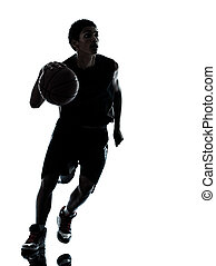 basketball player silhouette - one young man basketball...