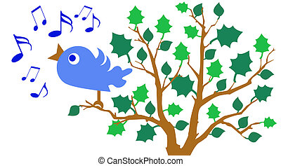 Bluebird of Happiness - illustration of bluebird singing in...