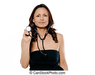 Portrait of a beautiful woman holding stethoscope - Portrait...