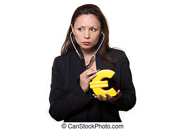 Portrait of woman examining euro and looking away - Portrait...