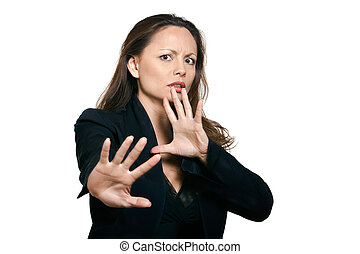 Portrait of beautiful woman making stop gesture - Portrait...