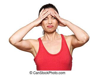 Portrait of expressive woman with severe headache in studio...