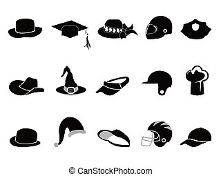 collection of various black hat Silhouettes - isolated...