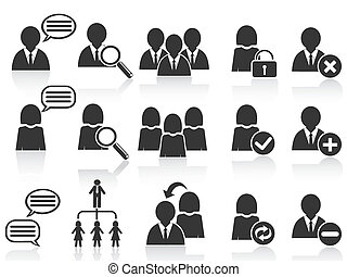 black social symbol people icons set - isolated black social...