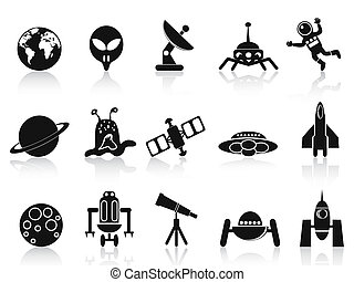 black space icons set - isolated black space icons set on...