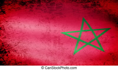 Morocco Flag Waving, grunge look