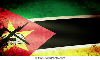 Mozambique Flag Waving, grunge look
