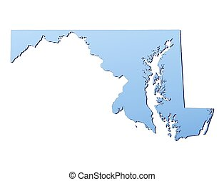 MarylandUSA map filled with light blue gradient High...