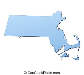 Massachusetts(USA) map filled with light blue gradient. High...