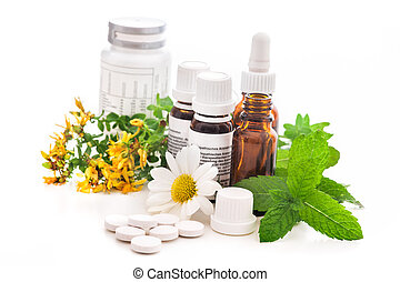 Alternative medicine - Healing herbs and medicinal bottles....