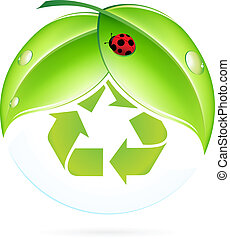 Recycling Symbol with Leaves and Ladybug