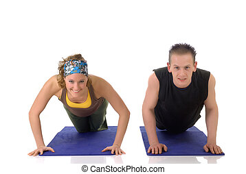 Fitness exercise - Young attractive female doing fitness...