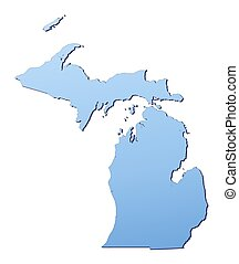 Michigan(USA) map filled with light blue gradient. High...
