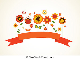 Vector greeting card with flowers and ribbon
