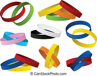 Set of colorful wristbands - Vector - Set of colorful...