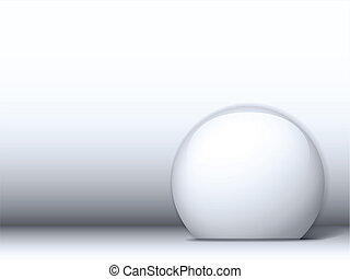 White Shiny Circle on White Background - Vector - White...