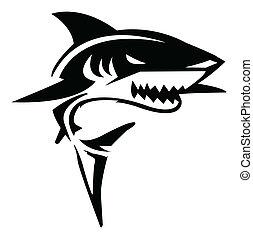 requin, vecteur, Illustration