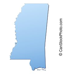 Mississippi(USA) map filled with light blue gradient. High...