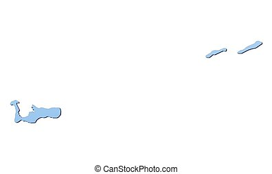 Cayman Islands map filled with light blue gradient. High...