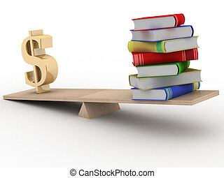 Sign dollar and the books on scales 3D image