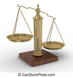 Scales justice on a white background Isolated 3D image