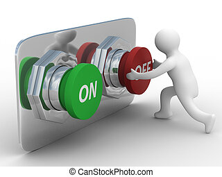 person pushes the button. Isolated 3D image