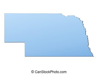 NebraskaUSA map filled with light blue gradient High...