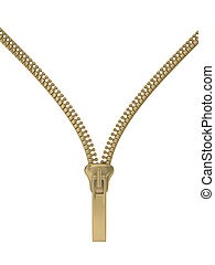 Zipper on a white background. Isolated 3D image