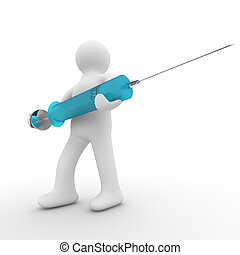 doctor with syringe. Isolated 3D image