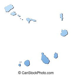 Cape Verde map filled with light blue gradient High...