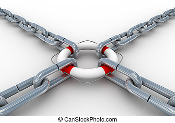 Chain fastened by lifebuoy Isolated 3D image