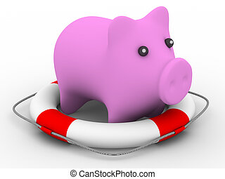 Rescue of pink pig. Isolated 3D image