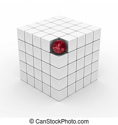 Cube with sphere on a white background. 3D image