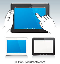 Digital Tablet - Digital tablet pc with hands, blank screen,...