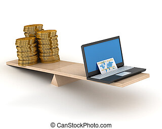 Comparison of e-commerce and cash. Isolated 3D image